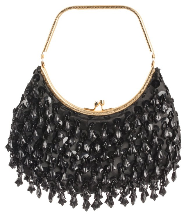 Black Satin Tassel Bag