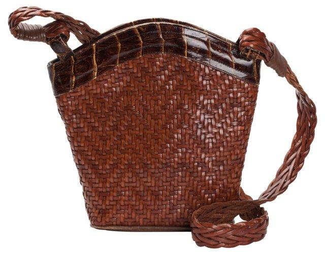 Woven Leather Bucket Bag