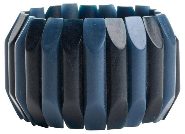 Blue Bakelite Stretch Bracelet