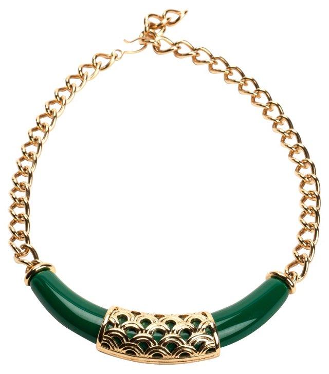 Monet Green & Goldtone Necklace
