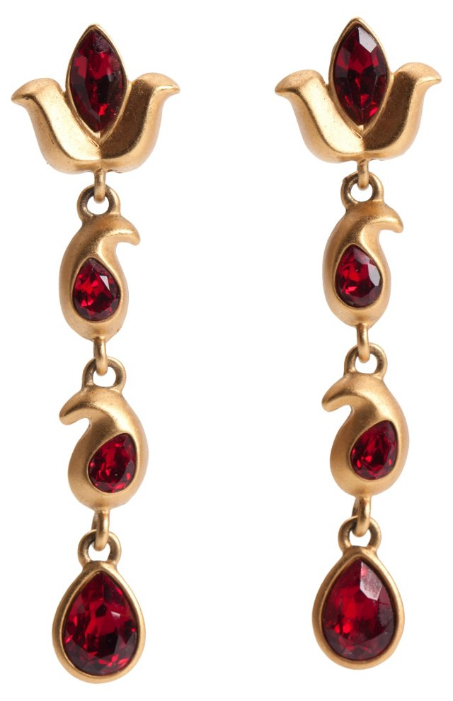 Napier Red Rhinestone Earrings