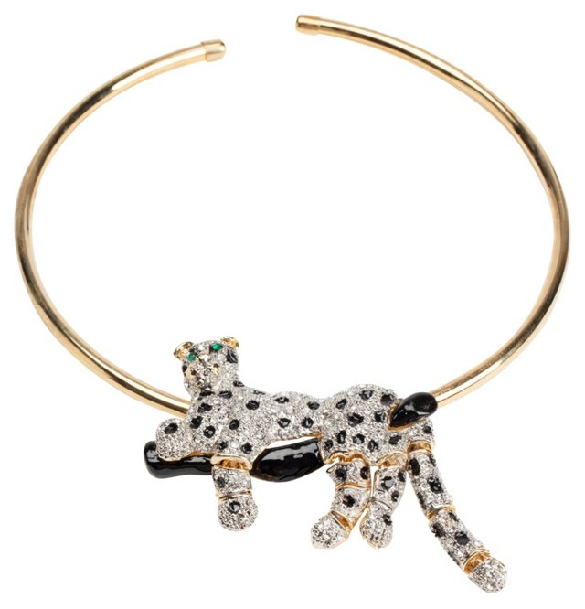 Rhinestone Panther Necklace