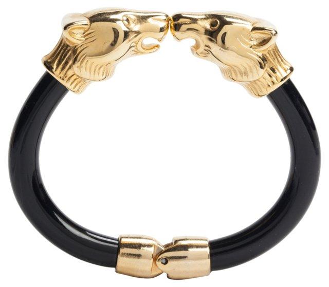 Double-Head Panther Goldtone Bracelet