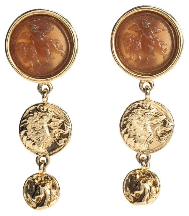 Jesara Angel Lion Medallion Earrings