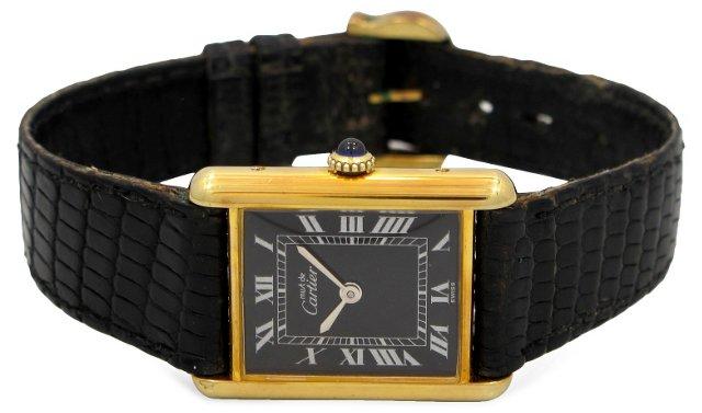 1990s Cartier Black Dial Tank Watch