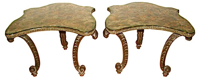 Lacquered Capiz Shell Top Tables, Pair