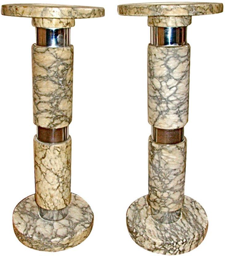 Marble & Chrome Pedestal Tables, Pair
