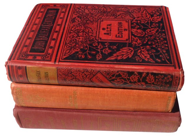 Red Decorative Books, S/3