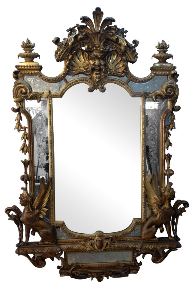 19th-C. French Giltwood Mirror by Jeune