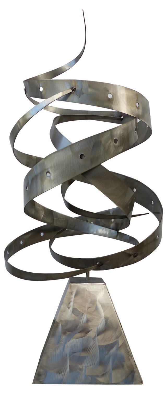 Brushed Steel Modernist Sculpture