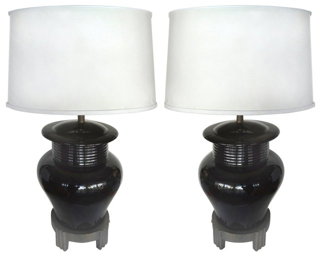 Black Ceramic Lamps, Pair