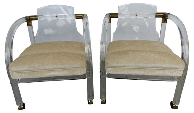 Lucite Chairs on Casters, Pair