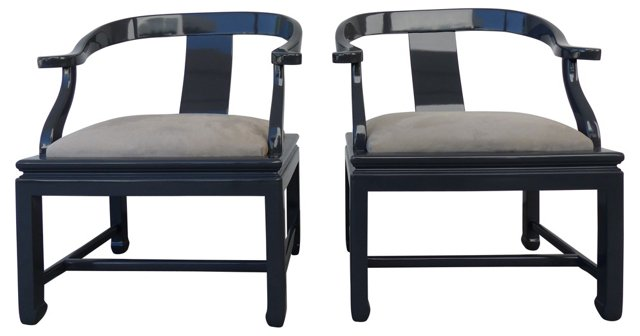 Asian Modern Lacquered Chairs, Pair