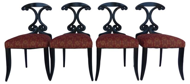 Ebonized Dining   Chairs, S/4
