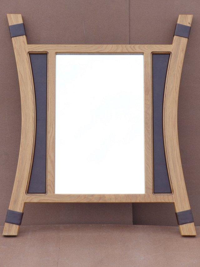 Custom Leather & Wood Mirror