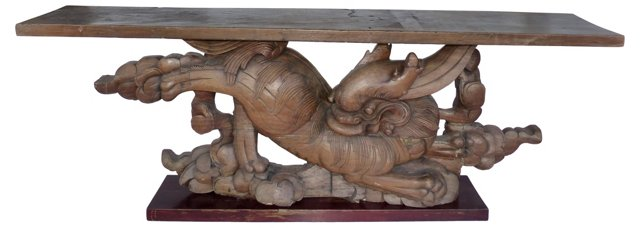 Carved Wooden Dragon Console
