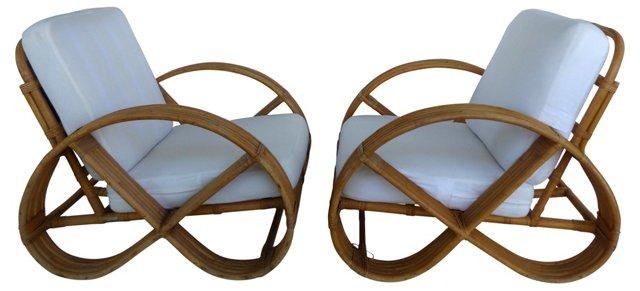 Japanese Rattan Club Chairs, Pair