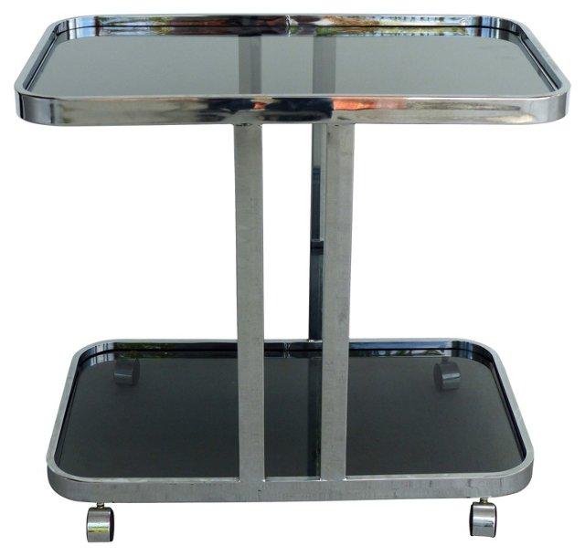 Smoked Glass & Chrome Bar Cart