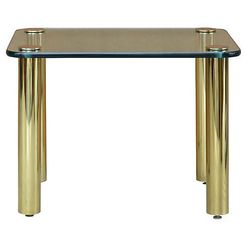 Pace Collection Brass & Glass Side Table