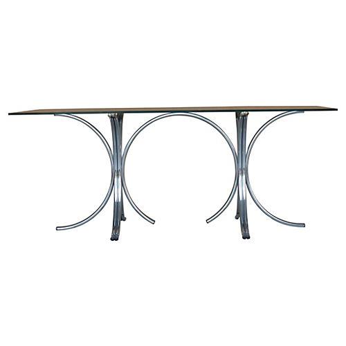 Midcentury Stylized Chrome Dining Table