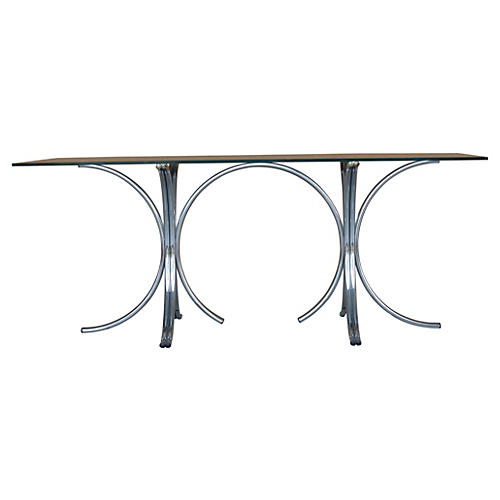 Midcentury Stylized Chrome Dining Table