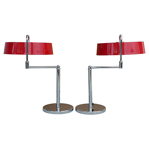 Italian Lamps w/ Enameled Shades, Pair