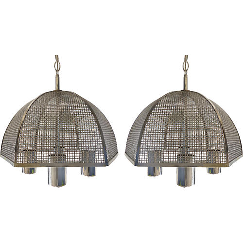 Laurel Chrome Mesh Hanging Lights, Pair