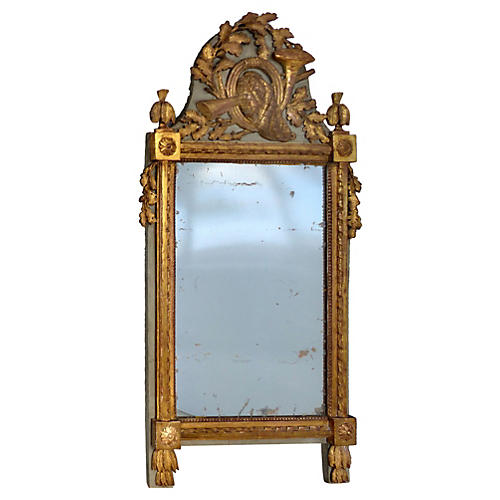 Antique European Carved Giltwood Mirror
