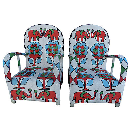 Yoruba Tribe Nigerian Beaded Chairs, S/2