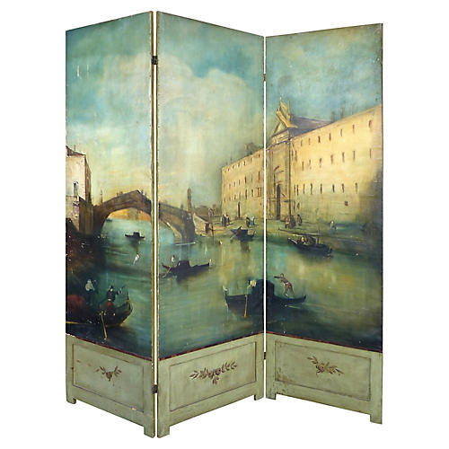 19th-C. Venetian Oil on Canvas Screen