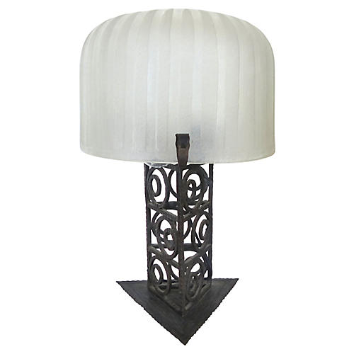 French Art Deco Iron & Glass Table Lamp