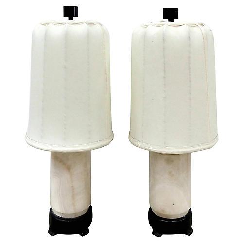 1930s Austrian Marble Lamps, S/2