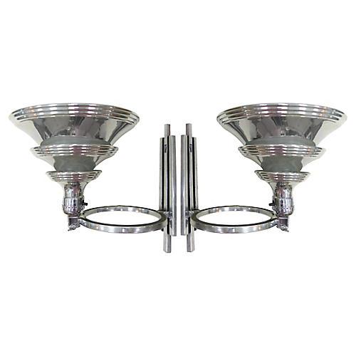 Art Deco Flip Sconces, S/2