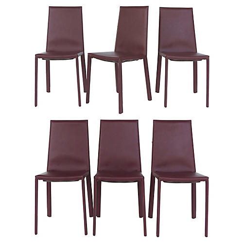 Arrben Italy Leather Side Chairs, S/6
