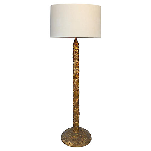 Mont-Style Gilt Mandarin Floor Lamp