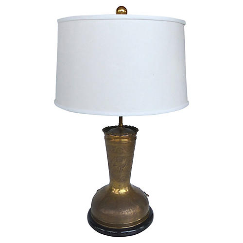 1960s Incised Brass Table Lamp