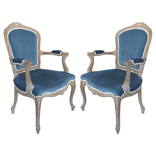 Limed Louis XV Style Fauteuil Chais, Pr