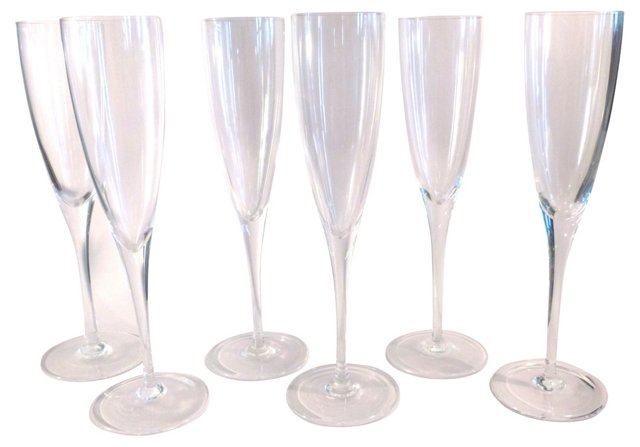 Tiffany Crystal Champagne Flutes, S/6