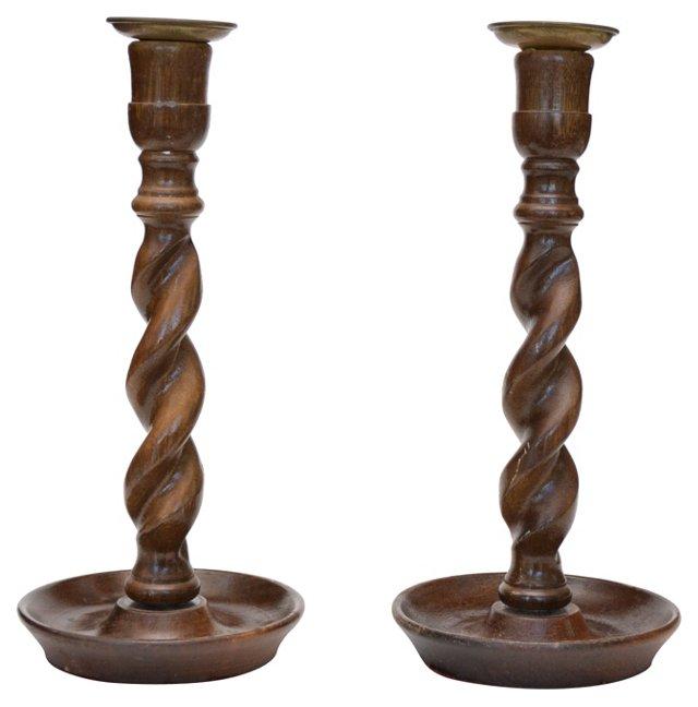 Barley Twist Candlesticks, Pair