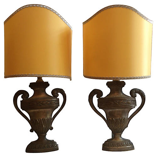 19th-C. French Carved Urn Lamps, Pair
