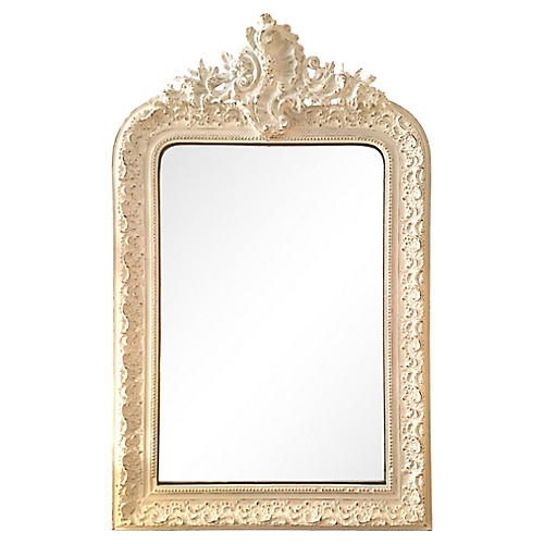 19th-C French Painted Mirror w/ Frieze