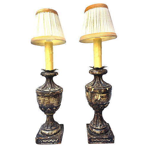 Italian Carved Wood Urn Lamps, S/2
