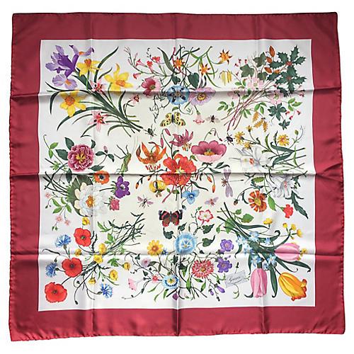 Gucci Flora Print Accornero Silk Scarf