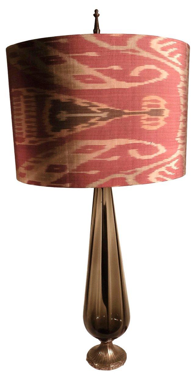 Glass Lamp w/ Ikat Shade