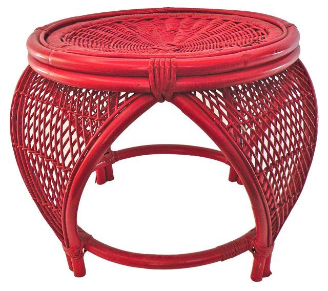 Red Wicker Ottoman
