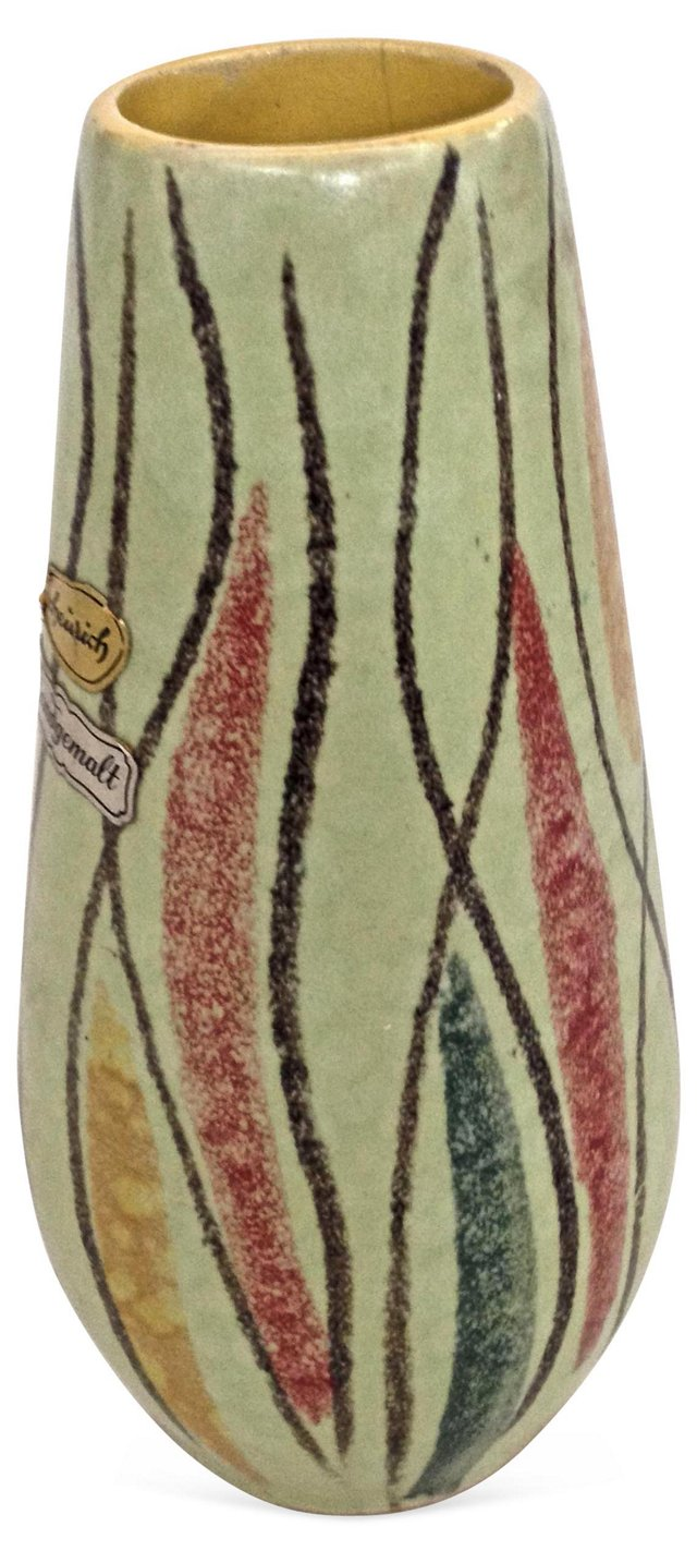 1960s Jopeko Green Ceramic Vase
