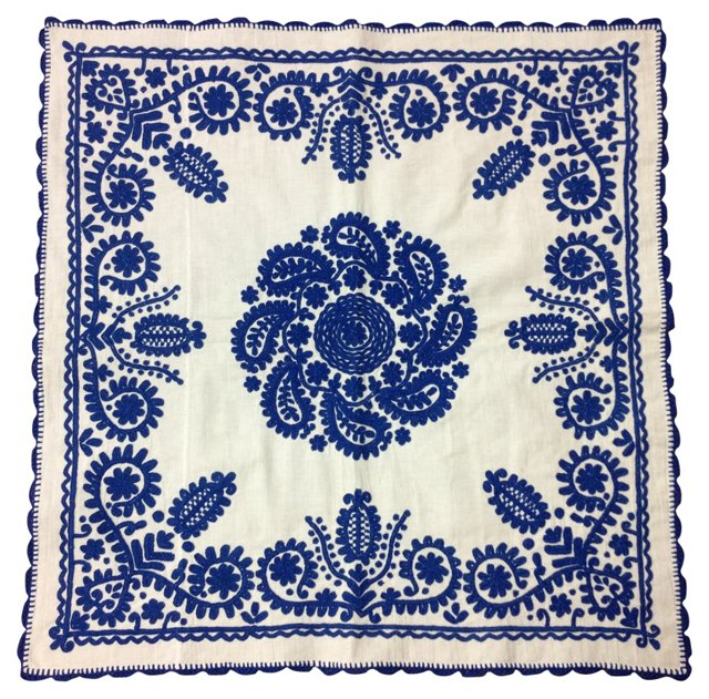 Blue-Embroidered Table or Pillow Topper