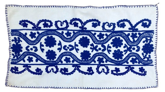 Cobalt Embroidered Bedcover
