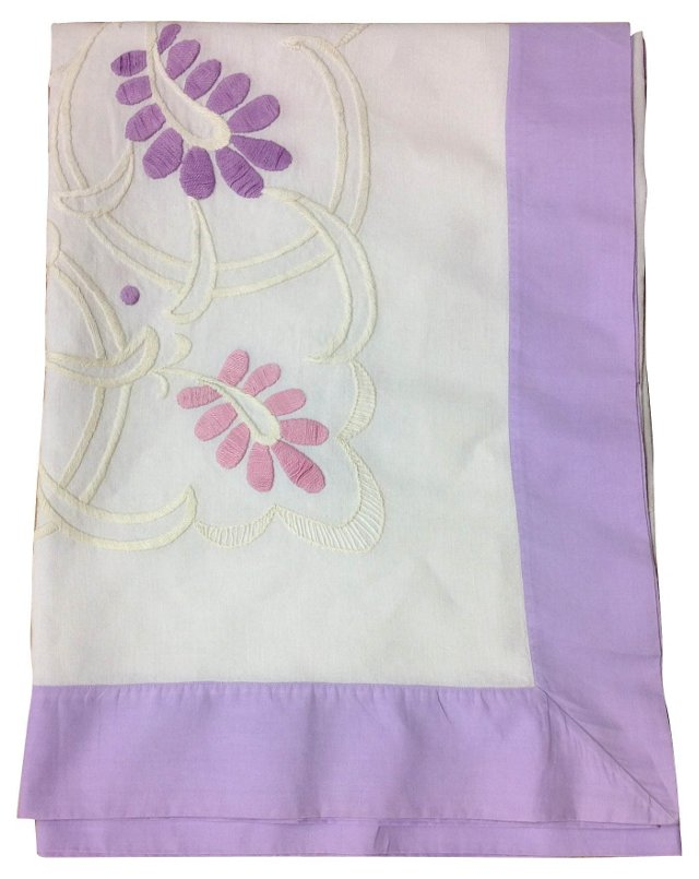 Embroidered Lavender Tablecloth