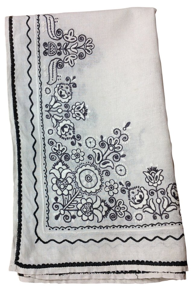 Black Embroidered Blanket Cover